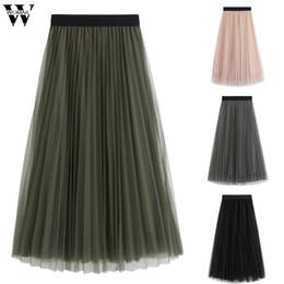 юбки для девочек-пачек Скидка Womail Skirt Women Summer style Casual Mesh Tutu Skirt Solid Long Princess Elegant fashion hight quality gift NEW 2019 M52
