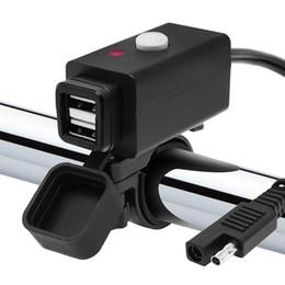 Adaptador usb adaptador de corriente online-Adaptador de cargador USB doble para motocicleta a prueba de agua con conector rápido SAE e interruptor de alimentación Puerto de alimentación de carga inteligente de 5 V