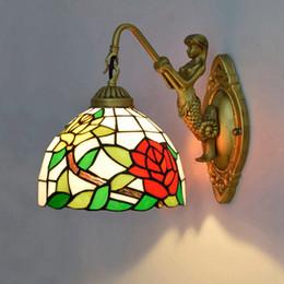 apliques de pared clásicos Rebajas Rosa Lámparas de pared Estilo europeo Creataive Stained Glass Wall Light Corredor Dormitorio clásico Aplique de pared Lámparas