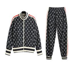 Pantalon de rue en Ligne-Hommes Survêtements Designer Marque Deux Pièces De Mode Sportwears Street Style Street Long SleevePants De Luxe Lettres Vêtements Hip Hop 2019