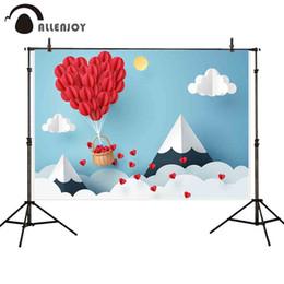 cuori di sfondo della fotografia Sconti Fondali fotografia di Allenjoy San Valentino Paper-cut love heart mount Sky cloud foto sfondo studio sparare photocall photophone