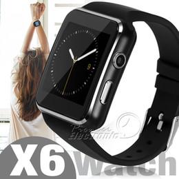 X sim para iphone on-line-X6 relógios inteligentes com suporte de tela de toque da câmera cartão sim tf bluetooth smartwatch para iphone x samsung s9 android telefone com caixa de varejo