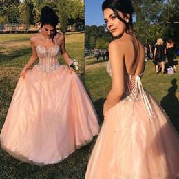 2019 nouvelle élégante pêche robes de bal sweetheart cou perlé cristal dentelle jusqu'à retour formelle robes de soirée robe de soirée sur mesure ? partir de fabricateur