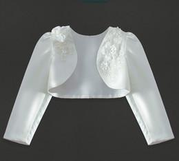 Прекрасный цвет слоновой кости с длинными рукавами бусы для девочек / куртки принцесса ну вечеринку пальто цветочница обертывание блузка болеро размер 4-13 2-14 H317459 от