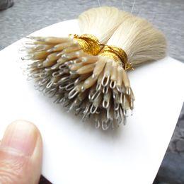 2019 extensions de cheveux micro kératine Kératine Droite Européenne Micro Perles Cheveux Micro Perles Aucune Remy Nano Anneau Liens Extensions de Cheveux Humains 100g 9 Couleurs Blond Cheveux Européen extensions de cheveux micro kératine pas cher