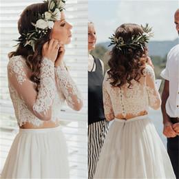 f65e40202e0 Bohemian Country 2019 Long Sleeves Wedding Lace Bolero Jacket Jewel Neck  White Ivory Simple Shawl Custom Plus Size