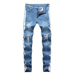 calças de desconforto Desconto Mens Jeans Designer KANYE WEST Rasgado Afligido Longo Azul Claro Listrado Calças Jeans Moda Calças