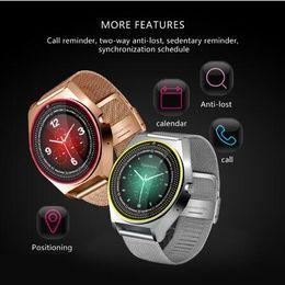 Tarjeta sim gps tracker online-Reloj inteligente de moda para hombres Tarjeta SIM compatible con podómetro de cámara Bluetooth 3.0 Sleep Tracker Smartwatch para teléfono Android IOS