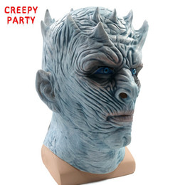 2019 зомби-маски Game Of Thrones Halloween Mask Night's King Walker Face NIGHT RE Zombie Latex Mask Adults Cosplay Throne Costume Party дешево зомби-маски