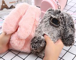 Telefone de pele de coelho on-line-Adorável coelho morno da pele do cabelo phone case para samsung galaxy j3 j5 j7 j320 diamante pelúcia coelho macio tpu tampa traseira