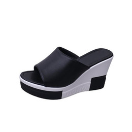 flip flops platform high heels Coupons - Summer Shoes Woman High Heel 9CM Sloped with Platform Slippers Fashion Casual Ladies Wedges Beach Sandals Women Flip Flops