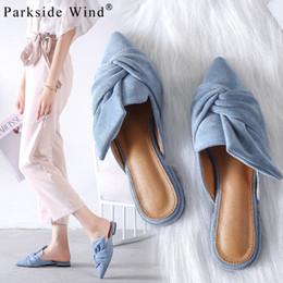 mariposa de viento Rebajas Parkside Wind Mujer Zapatillas Flock Nudo de mariposa Zapatos Mules Punta estrecha Diapositivas Moda Zapatillas de verano al aire libre XWA3245