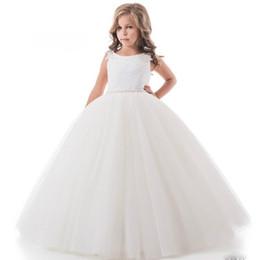 Ball Gown Principessa Fiore ragazze abiti in rilievo Vita ragazza pizzo abito da festa di nozze aperto indietro abiti laurea bambini da vestiti da cerimonia nuziale della vita della principessa in rilievo fornitori