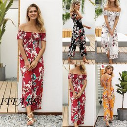 ff0716286e67 New Women Summer Jumpsuit Floral Off Shoulder Short Sleeve Party Clubwear Playsuit  Romper Trousers Pants Summer Women Clothes women s jumpsuit dress romper ...