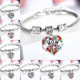fascino nipote Sconti Braccialetti colorati diamante cuore di cristallo NANA NONNA BIG SIS SORELLA, MAMMA, FIGLIA, zia, la nipote, il migliore amico dei monili di fascino del braccialetto di Donne