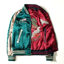 Japón Yokosuka Chaqueta de bordado Hombres Mujeres Moda Vintage Béisbol Uniforme Ambos lados Usar Kanye West Chaquetas de aviador desde fabricantes