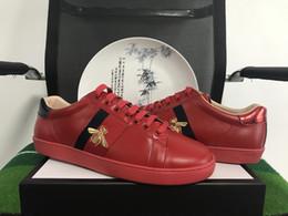 New Fashion ACE Original Top Designer strisce nere e rosse ricamato a mano ape in vera pelle Scarpe uomo e donna con scatola originale da