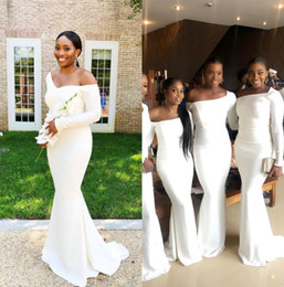 red light blue nigerian bridesmaid dresses Coupons - Cheap African Mermaid Bridesmaids Dresses Long Sleeves Off Shoulder Maid of Honor Dress Wedding Guest Dress African Nigerian Formal Dress
