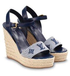 sandalias azules de las mujeres nuevas zapatos Rebajas 1a3rbw Sail Away Sandalia de cuña Moda Nuevas Mujeres Azules Tacones altos Lolita Pumps Zapatos Zapatillas de deporte Zapatos de vestir