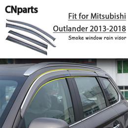 Outlander abs on-line-CNPARTS 4pcs ABS para Mitsubishi Outlander 2013 2014-2018 Car Visor Smoke Janela manter fresco de ar e acessórios de convecção