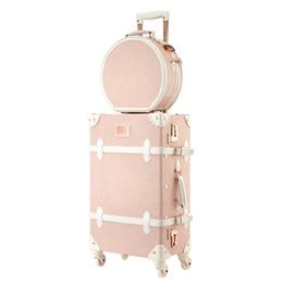 2019 handtaschen-sets Vintage Rollgepäck-Set mit Handtasche, Damen Hochwertige Holz + PU-Reisekoffer-Kosmetiktasche, Trolley-Box günstig handtaschen-sets