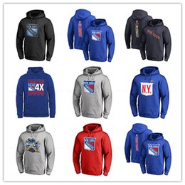 2019 abbigliamento da hockey Men's New York Rangers # 30 Henrik Lundqvist Hoodies Hockey blu Marca 18 19 Sport outdoor manica lunga Giacche abbigliamento stampato Loghi sconti abbigliamento da hockey