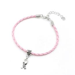Fascino del seno online-Wholesale-50pcs speranza cancro al seno consapevolezza nastro pendente ciondolo in pelle corda Cham braccialetto adatto per braccialetto europeo artigianale fatto a mano fai da te