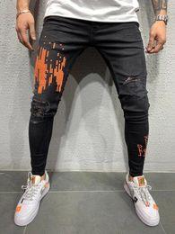 harem rasgado jeans homens Desconto REPPUNK 2019 Novos Streetwear Homens Elásticos Rasgados Jeans Skinny Slim Fit Calças Jeans Elástico Macho Harem Calças Moda Estilo