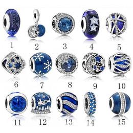 мерцающие прелести Скидка S925 стерлингового серебра шариков Pandora шарма типа бисер браслет голубой кристалл DIY шарики для браслетов дизайнер ювелирных изделий класса люкс