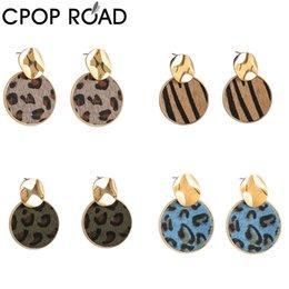 jóias zebra Desconto CPOP couro genuíno brincos Leopard Zebra círculo pingente brincos moda jóias Mulheres Acessórios Hot Sale Atacado