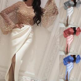 Женская одежда онлайн-Плюс размера женщины конструктора платья способа Split Щитового шнурок фонарики втулка выпускной вечер Dressess женщины Одежда