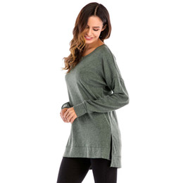Hochwertige hemden online-2019 Frühlingsmode Frauenkleidung T-Shirt High-Low Side Split Solide Casual Tops Pullover Flügelhülse Plus Größe S-2XL Großhandel DHL