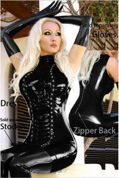Jogo de bandagem on-line-Mulher Senhoras Sexy Preto Faux Patent Leather Bandage Vestido Boate Traje Sexy Uniforme de Jogo
