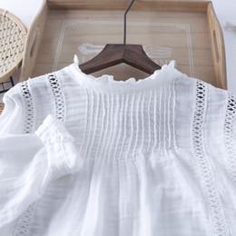 2019 ragazza di camicetta bianca camicetta a maniche lunghe patchwork con scollo a balze manica lunga Camicia in maglie di cotone con camicia bianca ragazza di camicetta bianca economici