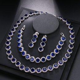silberne armbänder ohrringe Rabatt Luxus Rundschreiben Set Halskette Ohrring Armbänder 925 Sterling Silber Halskette 42cm Ohrring 3cm Armbänder 18cm EHBK-040