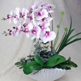 Canada 1set 3 Couleur Orchidée Artificielle Phalaenopsis Purpleheart Blanc Jaune Coeur Blanc Arrangement De Fleurs Bonsaï Fleur + feuille Pas De Vase J190710 cheap yellow artificial flowers vase Offre