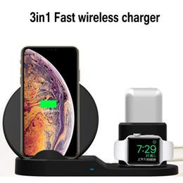 Station d'accueil iphone sans fil en Ligne-3 en 1 10 W Rapide Chargeur Dock Station Support De Charge Rapide Pour iPhone X XR XS Max iWatch AirPods écouteur Samsung téléphone
