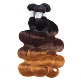 trama del pelo del color Rebajas T1B / 4/27 3 tonos Brasileño Indio Ombre Virgin Virgin Weft Body Wave 3 Paquetes 100% Extensiones de Cabello Humano