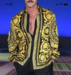 Pizzo di moda online-Parigi autunno estate stella con una camicia da uomo in pizzo di grandi dimensioni di moda casual spettacolo di grandi dimensioni, Europa e Stati Uniti modello alto classico striscia