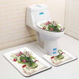 Planta nórdica 3D Aseo Baño Estera de baño Alfombra Alfombra Conjuntos Cuarto de baño Ducha Alfombras Franela Antideslizante 3 Piezas Esteras de baño Conjuntos desde fabricantes
