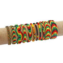 2019 braccialetto dei braccialetti dei braccialetti Braccialetto di amicizia 10pcs Rasta Wristband Cotton Silk Reggae Giamaica Surfer Boho regolabile gioielli