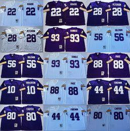 Vintage minnesota trikots online-Vikings Minnesota Vintage-28 Adrian Peterson Jersey Männer Fußball 44 Chuck Foreman 10 Fran Tarkenton 22 Paul Krause-Team Lila Auswärts Weiß