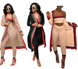 woman maxi dress black Coupons - 2018 New Arrival Black Striped 3 Pieces Sets Casual Outfits Long Cloak Strapless Overalls Bodysuit Women Clothing Sets Costumes