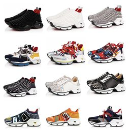 Zapatos de goma en ejecución online-2019 Diseñador Spike Calcetines de hombre Zapatillas de deporte Red Runner Donna Zapatillas de hule planas para correr Mujeres Wike Red Bottom spike Zapatos de lujo Zapatillas de deporte planas 16 colores