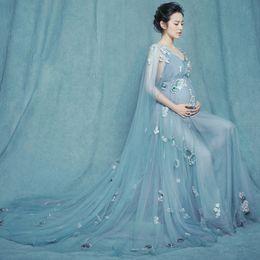Maternidade fotografia flores on-line-Maternidade vestido de Maternidade 2019 Adereços Fotografia Maternidade Flor Vestido de Renda sem ombros Voile Verão Grávida Vestido Perspectiva Elegante