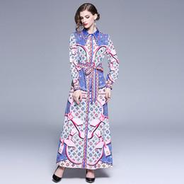 e8a3e4a2182030 neue designer maxi kleider Rabatt Neue 2019 Damenmode Klassische Print  Shirt Maxi Kleider Luxus Damen Casual