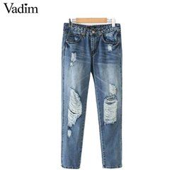 Джинсовые карманы онлайн-Vadim women vintage denim jeans zipper  pockets holes design female casual long trousers retro ripped pantalones KA628