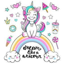 Citações da arte do berçário on-line-Parede colorida do unicórnio do arco-íris Adesivos Sonho como um unicórnio Quote Wall Art Decal Para as crianças da sala das meninas Quarto Nursery Decor
