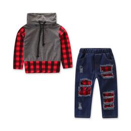 jeans vermelho bebê Desconto Criança Criança Bebê Menino Outono Inverno Manga Comprida Com Capuz Vermelho Cinza Xadrez Top Camisa Azul buraco Buraco Jeans Calça Legging Outfit Roupas