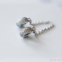 NUOVO classico catena in argento sterling 925 con diamante totale CZ, catena sicura, scatola originale per bracciale Pandora, accessori per gioielli, catena sicura fai-da-te da